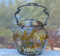 Pot A Biscuit Epoque Art Nouveau Decor Emaille Aux Mimosas