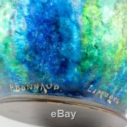 RARE Vase Ancien PIERRE BONNAUD Art Nouveau EMAIL de LIMOGES enamel/faure/emaux