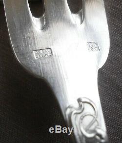 RAVINET DENFERT art nouveau 8 Fourchettes entremets / fruits Métal argenté BLANC