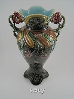 Rare Vase Ancien Barbotine ART NOUVEAU France 1900 Décor Floral Végétal Numéroté