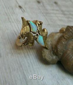 Rare et ancienne bague marquise en or massif 18k et opale d'époque Art-nouveau