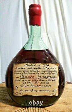 Rare vieux ARMAGNAC 1934 bouteille Basquaise 70 cl