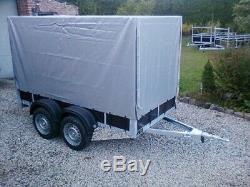 Remorque double essieux 263 x 133 bache haute ptac 500 et 750kg livrable france
