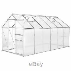 Serre de jardin polycarbonate aluminium légume plante jardinage 375x185x195cm