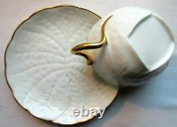 Service à café porcelaine Limoges, blanc et Or fin, Art Déco / Nouveau