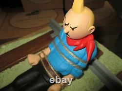 St Emett-Sculpture, scène Tintin en Amérique-Résine Polychrome-Grand modèle