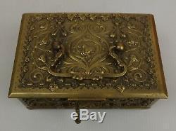 Superbe Coffret à Bijoux en Bronze, XIXe siècle, Art Nouveau, Intérieur Velours