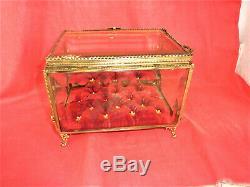 Très Grand Coffret Boite A Bijoux De Mariée Art Nouveau Glass Jewelry Box 1900