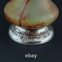 Vase de Daum en pâte de verre et argent massif Art Nouveau
