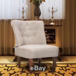 VidaXL Fauteuil de Style France Canapé Sofa de Salon Bureau Crème Tissu