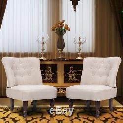 VidaXL Paire de fauteuils capitonnés de style France bois blanc crème