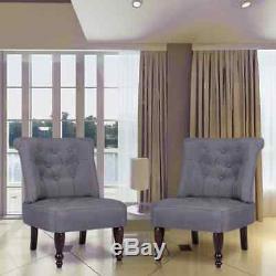 VidaXL Paire de fauteuils capitonnés de style France bois gris