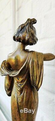 Vintage Antique Art nouveau spelter Statue Edelweiss Lucien ALLIOT France Bronze